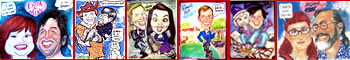 full color Studio Quality Caricatures by Sam Klemke, Gourmet Caricatures